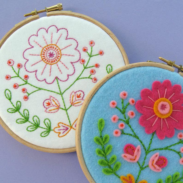 Folk Floral Hoop Art Tutorial & Embroidery Pattern PDF by Laura Lupin Howard