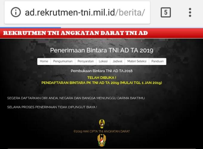 Rekrutmen TNI AD TA 2019