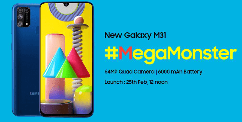 Samsung India unveiled a teaser of the Galaxy M31, to arrive on February 25