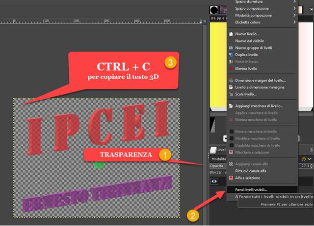 copiare testo in tre dimensioni con GIMP