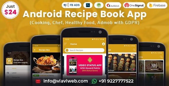 Android Recipe Book App (Cooking, Chef, Healthy Food, Admob with GDPR) v2.3