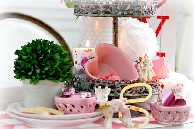 tiered, tray, vignette, decor, homemaking, homemaker, pink, valentine athomewithjemma.com
