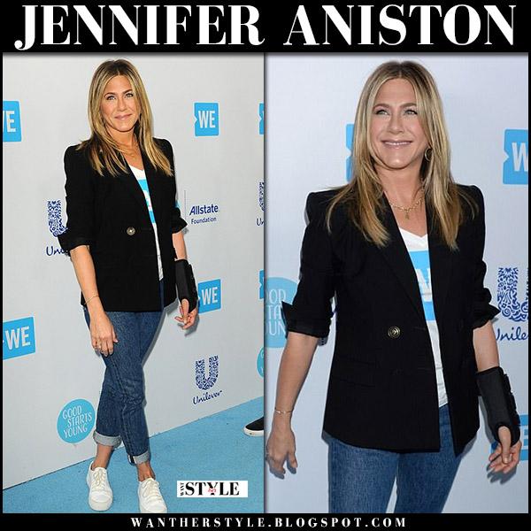 Jennifer Aniston in black blazer givenchy and jeans celebrity style april 19