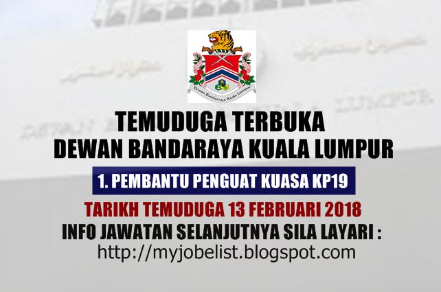 Temuduga Terbuka di Dewan Bandaraya Kuala Lumpur (DBKL) Pada 13 Februari 2018