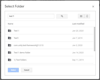 Screenshot of Google Picker in Drive