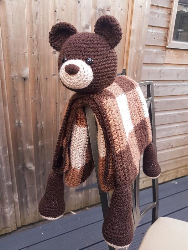 Crochet Pattern: 3in1 Woodland Bear Folding Baby Blanket Toy Lovey