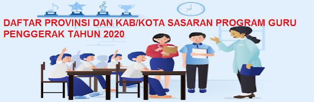 Daftar Provinsi dan Kabupaten Kota Sasaran Program Guru Penggerak tahun  DAFTAR PROVINSI KAB/KOTA SASARAN PROGRAM GURU PENGGERAK TAHUN 2020