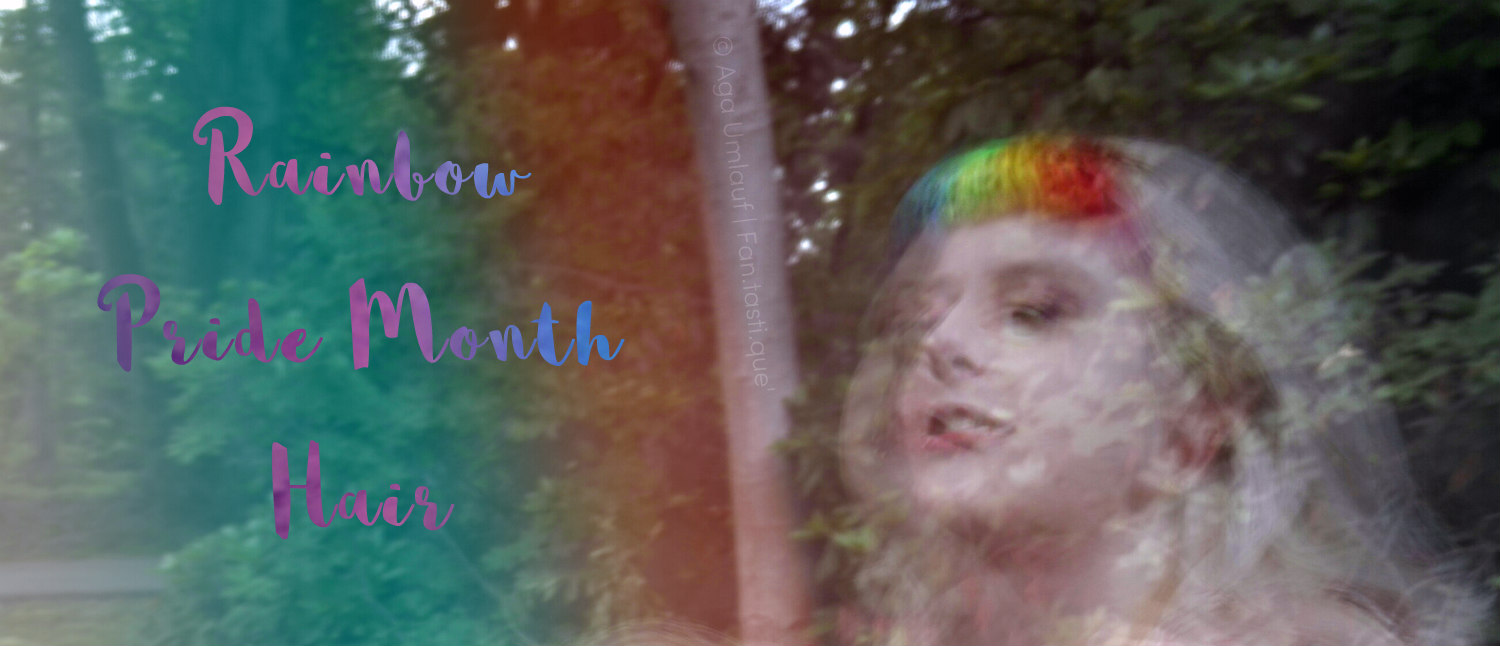 blurry picture of a woman with Rainbow Pride Month Hair written on it