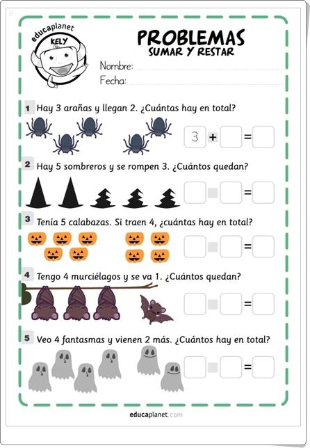 """""""Problemas de Sumar y Restar de Halloween"""" de Eva Barceló (Educaplanet)"""