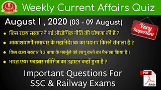 Weekly Current Affairs Quiz ( August I , 2020 )