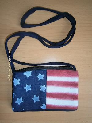kopertówka w flagą USA, ręcznie malowana - Adzik tworzy