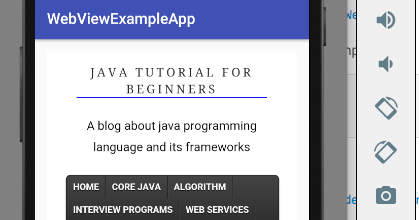 Android WebView example - Java tutorial for beginners