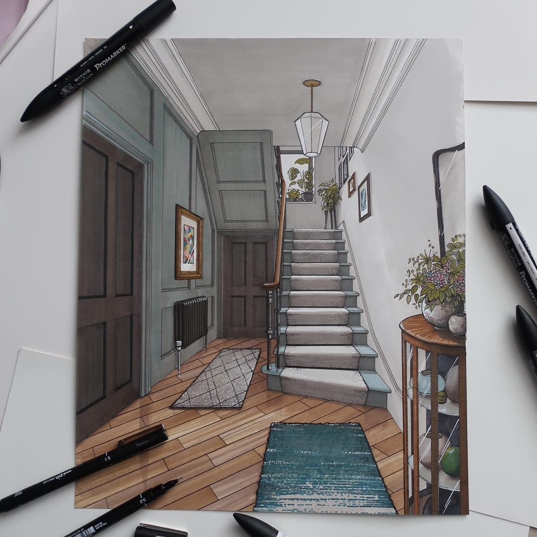 07-Stair-and-Hallway-Malcolm-Begg-Interior-Design-Drawings-of-a-Victorian-House-www-designstack-co