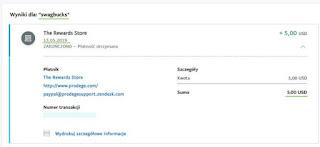 SwagBucks — dowód wypłaty, PayPal.