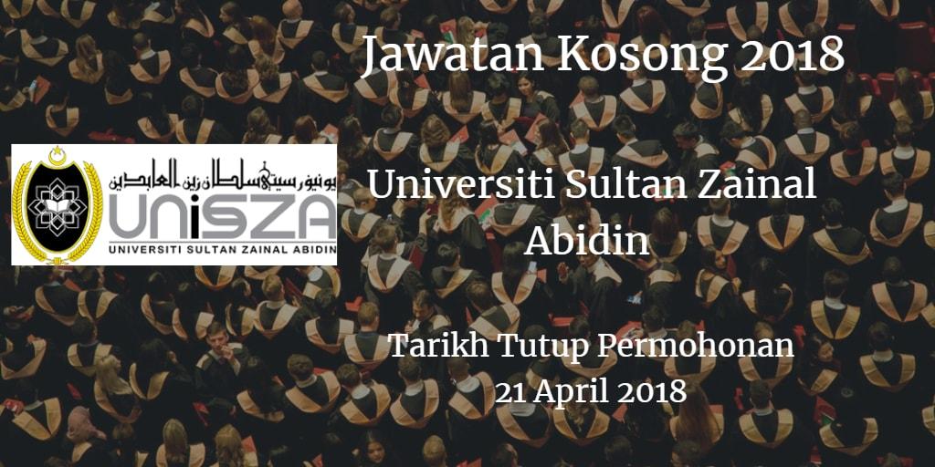 Jawatan Kosong UniSZA 21 April 2018
