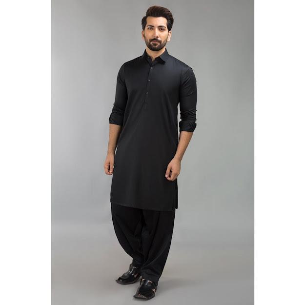 Gul Ahmed Black bsic Men's suit