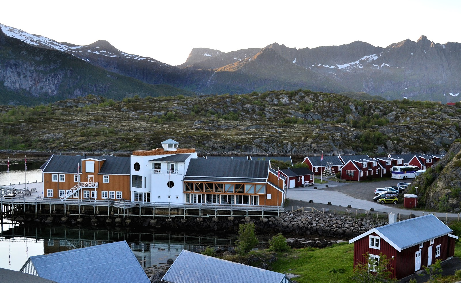 Overlooking Nyvågar Rorbuhotell, main building in the foreground.