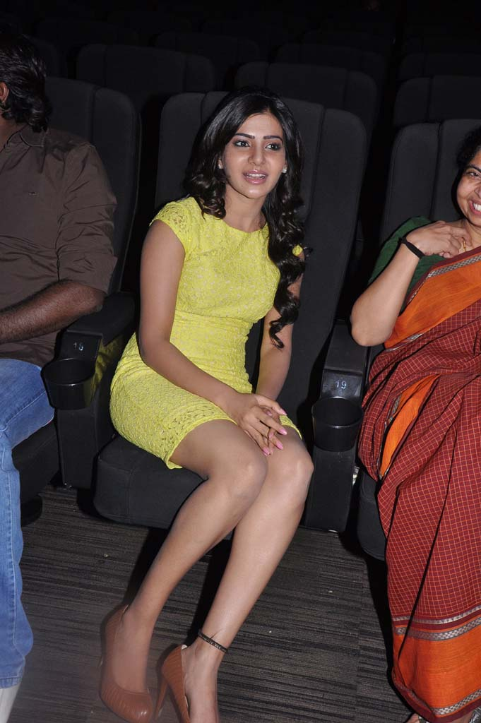Samantha Thigh Show Photos In Yellow Dress