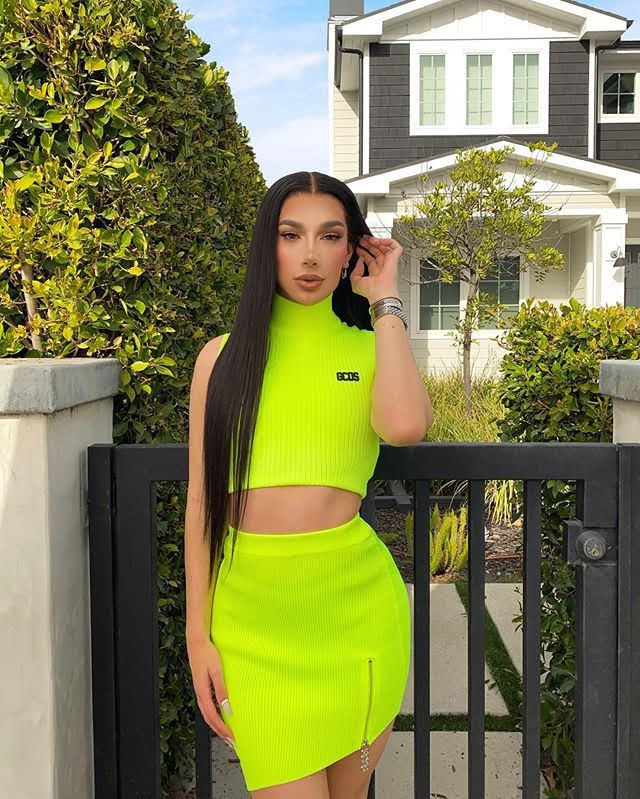 James Charles neon green outfit