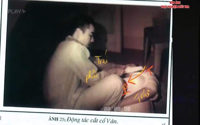 Vết cắt và thực nghiệm 2 nạn nhân bị cắt cổ ở Bưu Điện cầu Voi