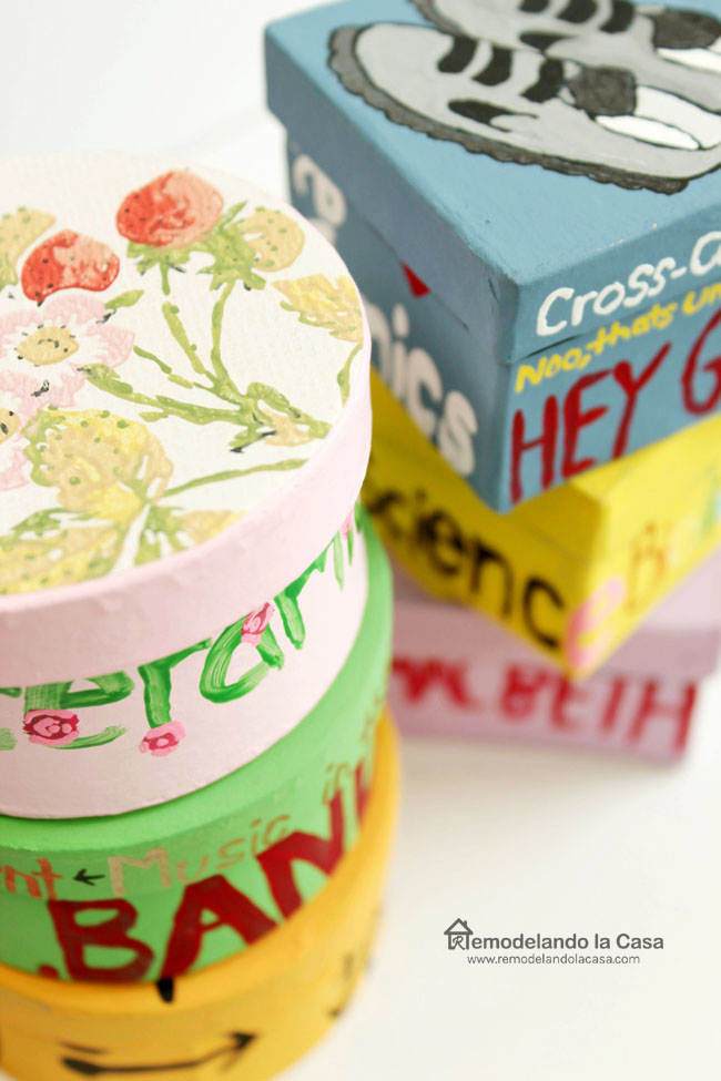 decorated boxes with pictures and words for teachers gifts