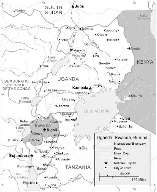 image: Black and white Rwanda map