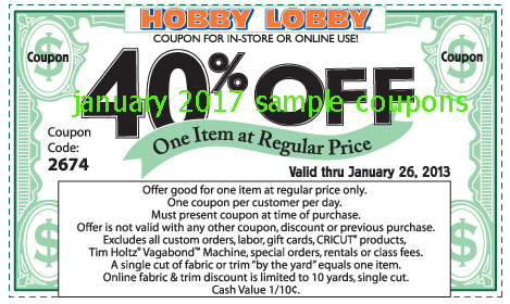Hobby lobby coupons april 2018