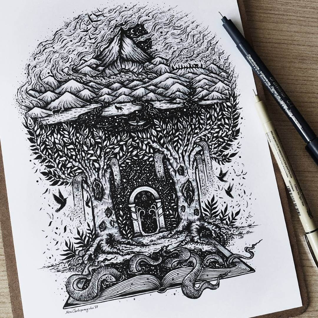 05-Inspired-by-J-R-R-Tolkien-Meni-Chatzipanagiotou-Fantasy-and-Surrealism-in-Ink-Illustrations-www-designstack-co