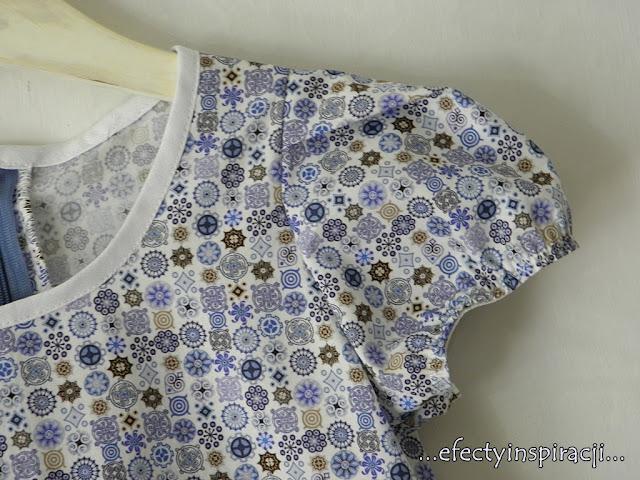 e-fectyinspiracji, sukienka dla dziewczynki, bufiaste rękawki, jak uszyć, moda dziecięca, pomysł na prezent, koronka,