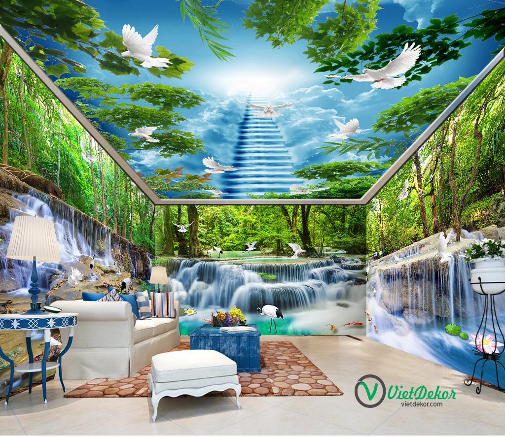 Tranh 3d dán tường phong thủy thác nước