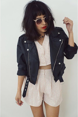 Sophiestylish.blogspot.com, gingham, bomber jacket, crop top, Chris Brown, red and black gingham, how to wear gingham, trends, fashion trends, runway, what is gingham