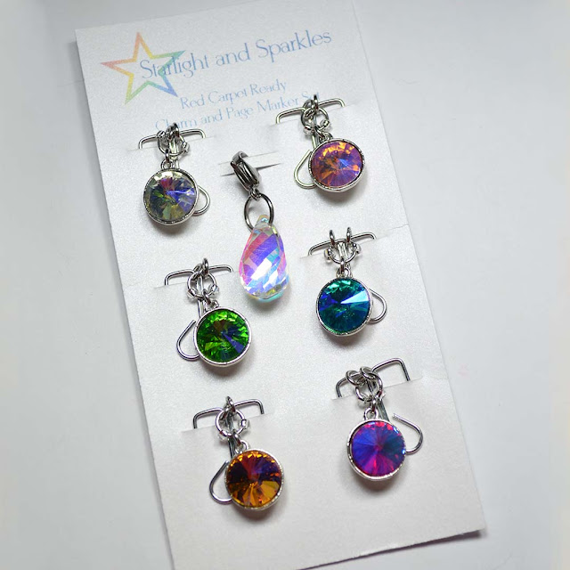 colorful gemstone page marker set arranged in flat lay