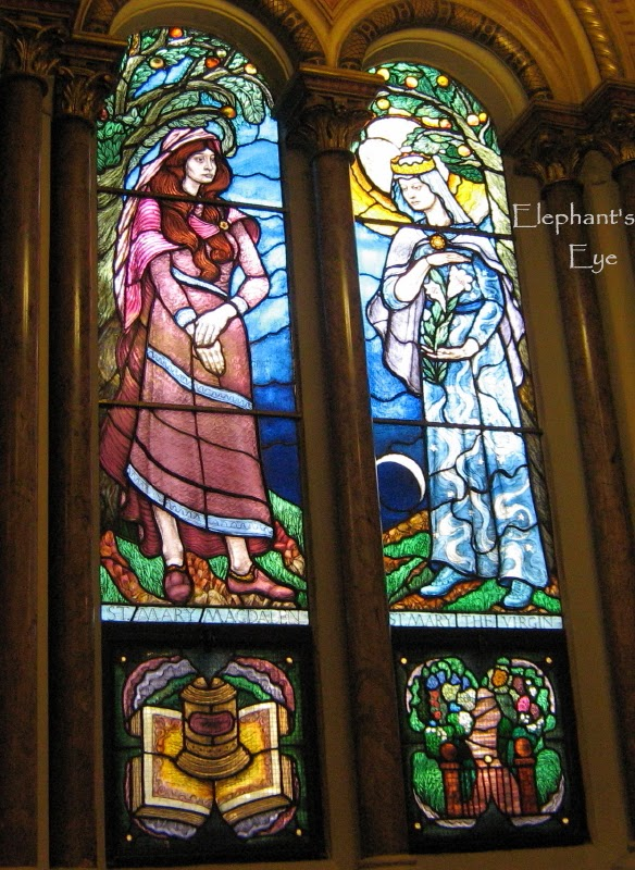 Mary Magdalen and Mary the Virgin in stained glass