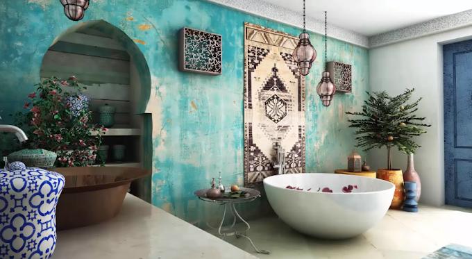 حمامات فخمة على الطراز المغربي