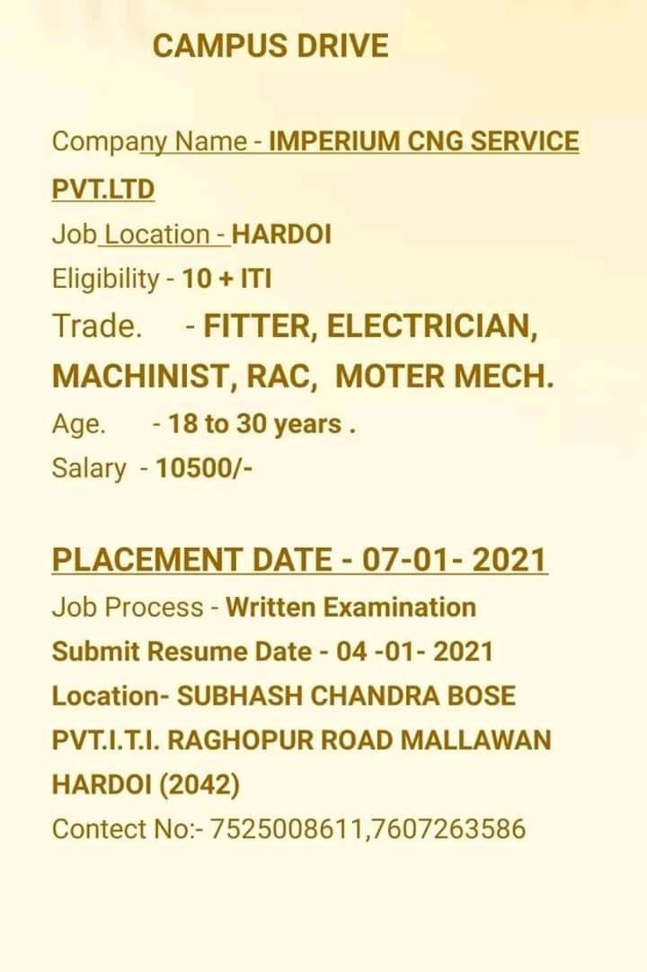 ITI Job Campus Drive in Subhash Chandra Bose Private ITI Hardoi, Uttar Pradesh For Imperium Cnc Service Pvt Ltd