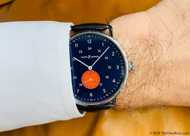 James & Muriel TimeKeeper Horizon Blue wrist