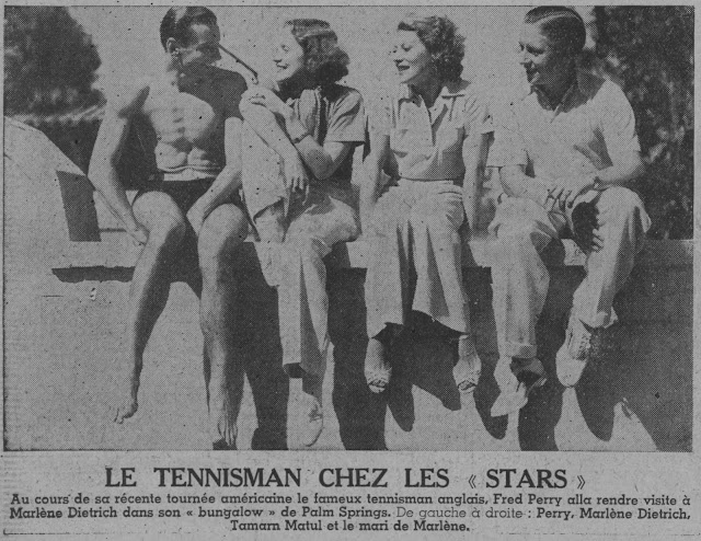 English tennis player Fred Perry, Marlene Dietrich, Tamara Matul, and Rudolf Sieber in Palm Springs, California, 1934