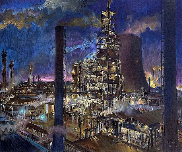 a Terence Cuneo illustration of a factory at night