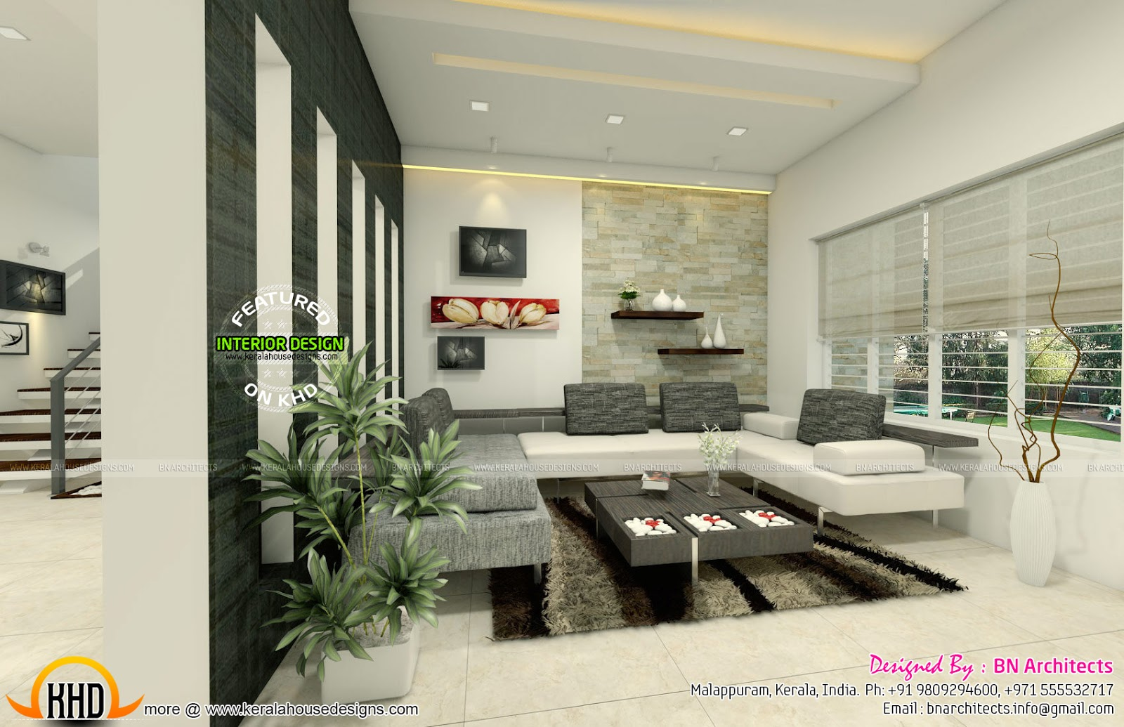 All in one house elevation floor plan and interiors for Living room design ideas kerala