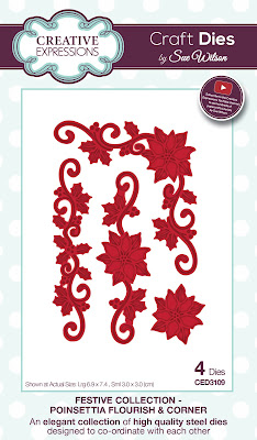 Festive Collection Poinsettia Flourish and Corner Dies - CED3109
