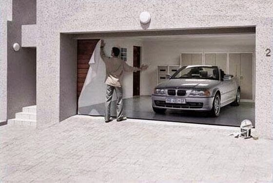 Funny Garage Door BMW Sports Car Joke Picture