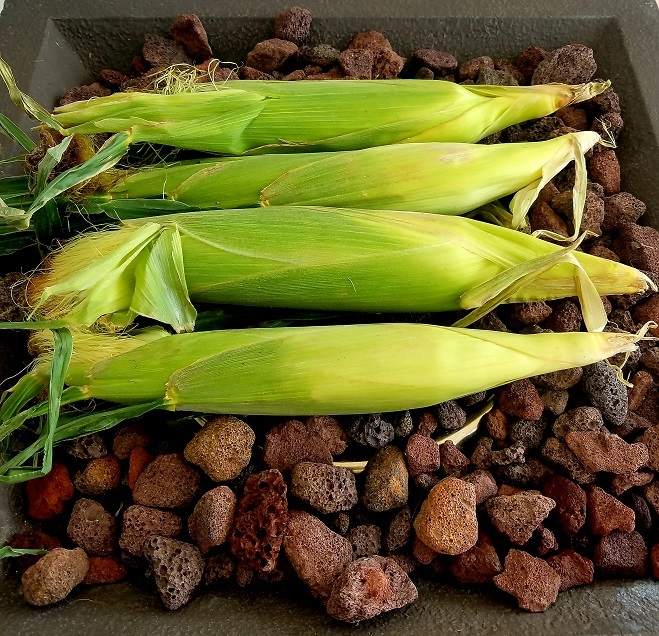 these are stalks of corn still in the husks on the hot coals