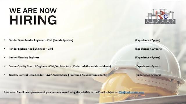 مطلوب مهندسين تخطيط وضبط جودة وتسعير لشركة ريدكون Redcon Construction