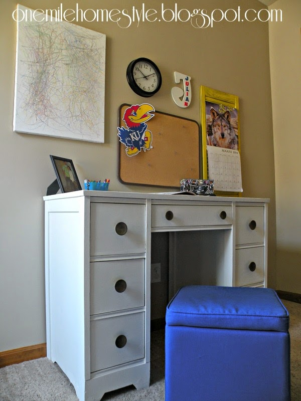 Refinished Kid's Desk - White and Navy | One Mile Home Style