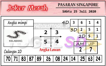 Prediksi Joker Merah Sgp Sabtu 25 Juli 2020