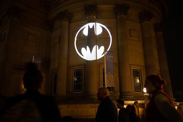 Batman Day 2021 Bat-Signal St George's Hall, Liverpool