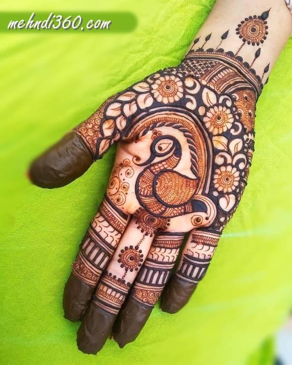 Front Hand Peacock Mehndi Design
