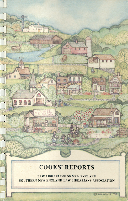 """Cover of cookbook, titled """"Cooks' Reports."""" The cover image is of an idyllic small New England farm town."""