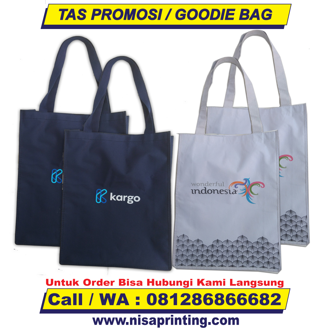Produksi Tas Promosi Tas Spunbond Tas Goodie Bag Nisa Printing