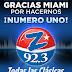 WCMQ-FM Z92.3FM la estación N°1 Hispana, líder en sintonía radial en el mercado de Miami, Ft. Lauderdale, Hollywood